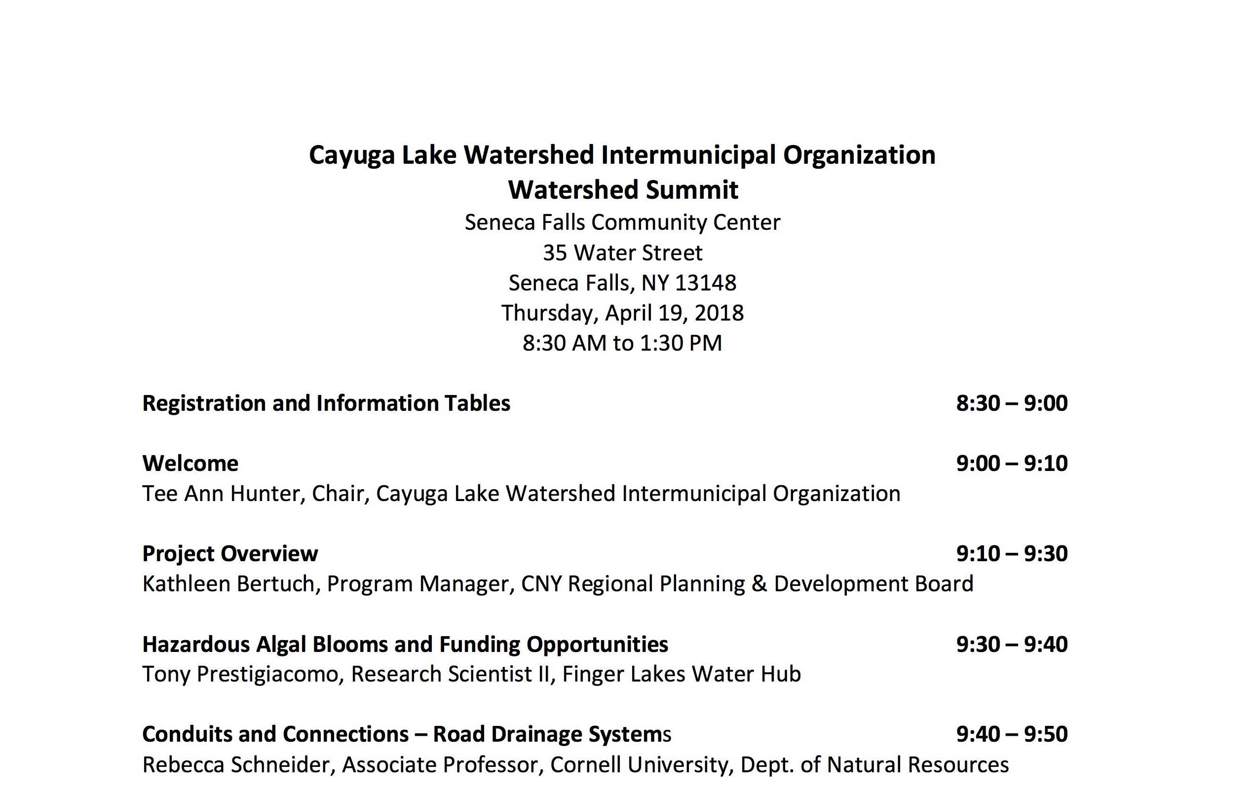 Watershed summit agenda